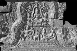 Pediment with the original image of Buddha