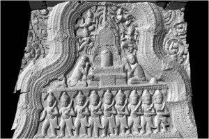 Pediment with the altered image of the Shiva lingam