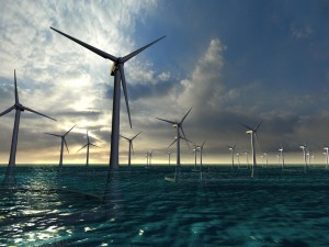 Architectural rendering of floating offshore wind farm (c) Takeshi Ishihara