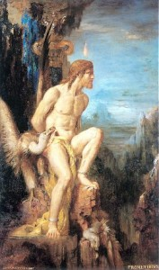 Prometheus, Gustave Moreau. In Greek mythology, Prometheus gave fire to humankind, for which he was punished by Zeus. Chained to a rock, an eagle pecked out his liver every day, only for it to grow back every night. But it would be surprising if the ancient Greeks were aware of the liver's regenerative power.