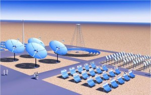 Illustration of solar power generation in the desert, the theme of GS+I project. (c) Global Solar+ Initiative.