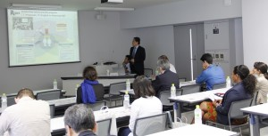 Professor Okada introduces research at RCAST during the briefing.