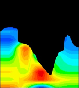 Figure 1: Muographic image of Mount Asama. Colors represent the mean muon density, with red representing higher mean muon densities. The red patch indicates magma that has cooled after extrusion. (c) 2014 Hiroyuki Tanaka.