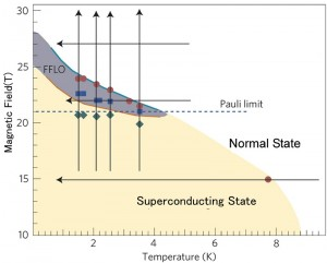 Field-Temperature phase diagram of a layered organic superconductor. The vertical and horizontal axes show respectively the strength of the external field (Tesla) and temperature (Kelvin). The FFLO state is observed in the grayish area in the phase diagram. The NMR experiments were performed along the bold lines. The
