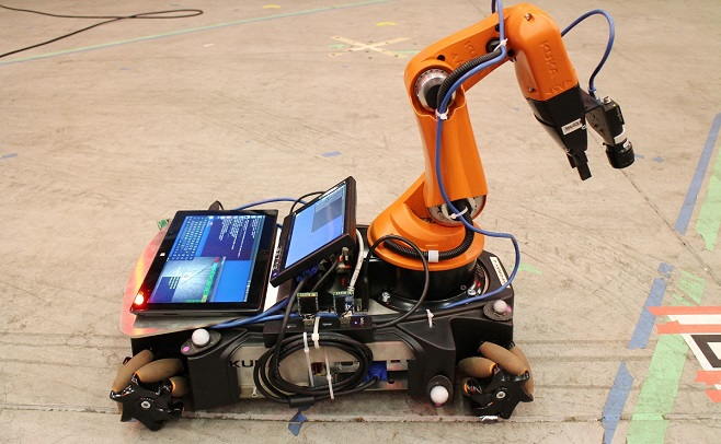 The group used standard development platforms such as the ground-based Kuka YouBot to test their system.  © 2015 Chris Raabe and Niklas Bergström.