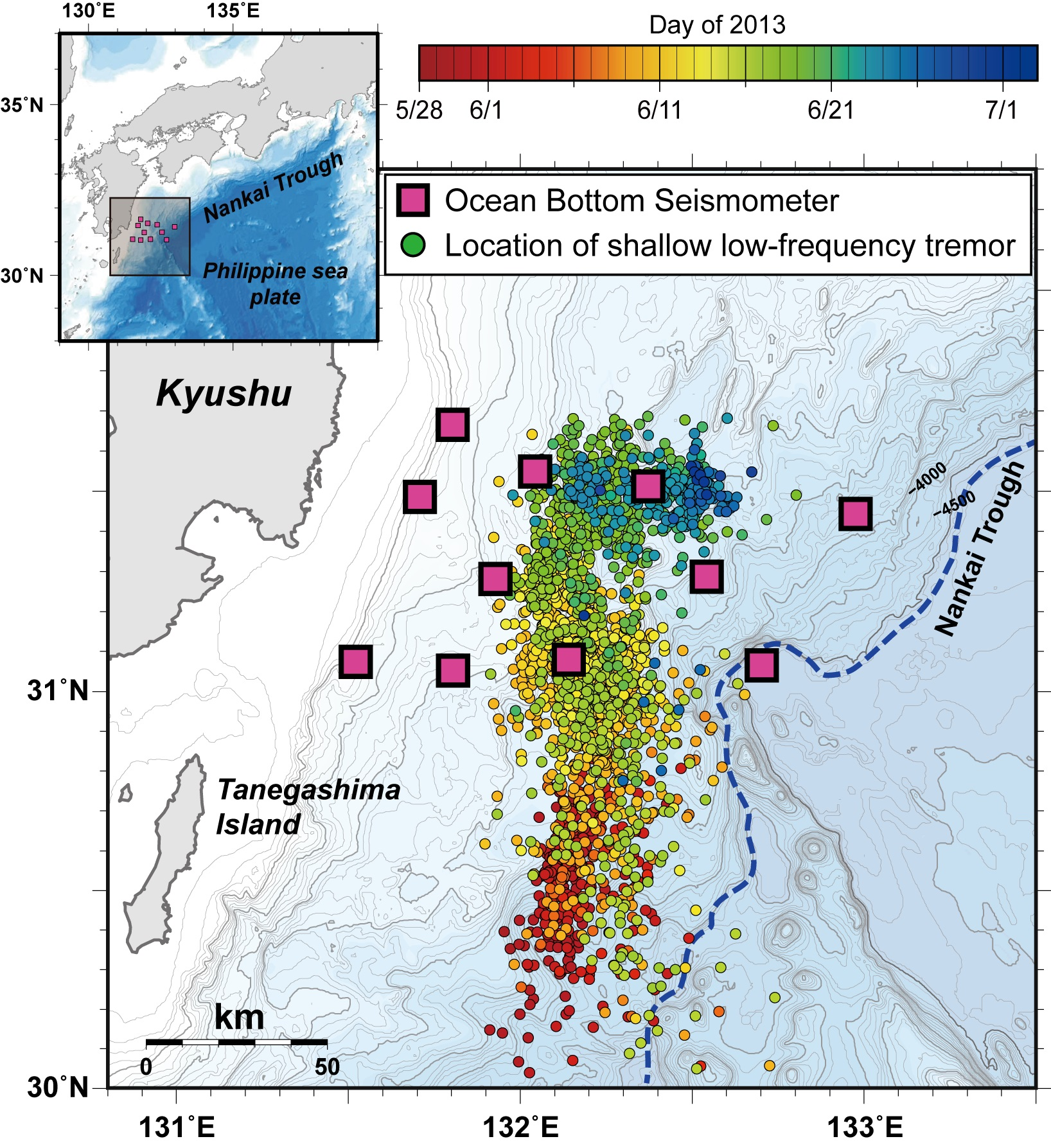 © 2015 Yusuke Yamashita.Yellow squares show the locations of ocean bottom seismometers. Circles indicate the distribution of occurrence of shallow low-frequency tremors, while the color of the circle indicates the time of occurrence.