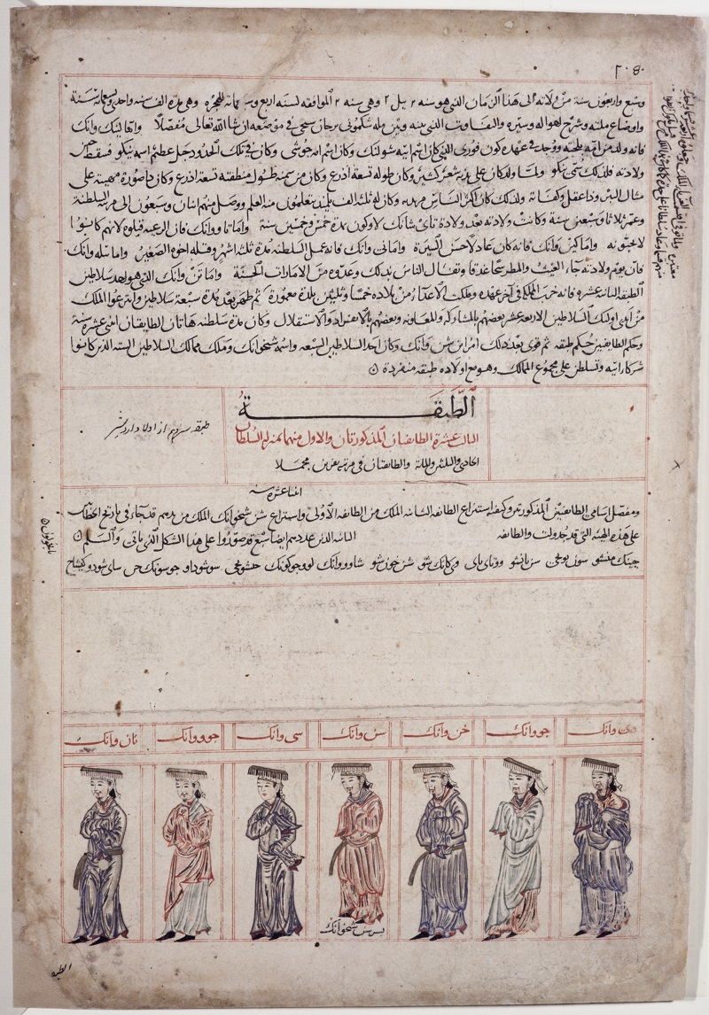 "Figure 2: ""Seven Emperors of the Warring States,"" in Jāmi' al-Tawārīkh (Compendium of Chronicles). The large blank space below the middle was left there by the copyist for the illustrator to fill with portraits of the thirteen princes from the Spring and Autumn Period (ca. 771–476 B.C.), whose names are listed on the line directly above, but the artist has not understood this and left it open. If the artist had been able to read Arabic, they would have recognized the names even though they are not written in red and filled the space with thirteen portraits, just as they did for the seven princes of the Warring States period (ca. 475–221 B.C.) at the bottom, whose names are indeed written in red. ""Seven Emperors of the Warring States,"" in Jāmi' al-Tawārīkh (Compendium of Chronicles), by Rashīd al-Dīn, Arabic language manuscript, Tabriz (Iran), 714 A.H./1314-15 A.D., The Nasser D. Khalili Collection of Islamic Art (London), MSS727, folio 10b."