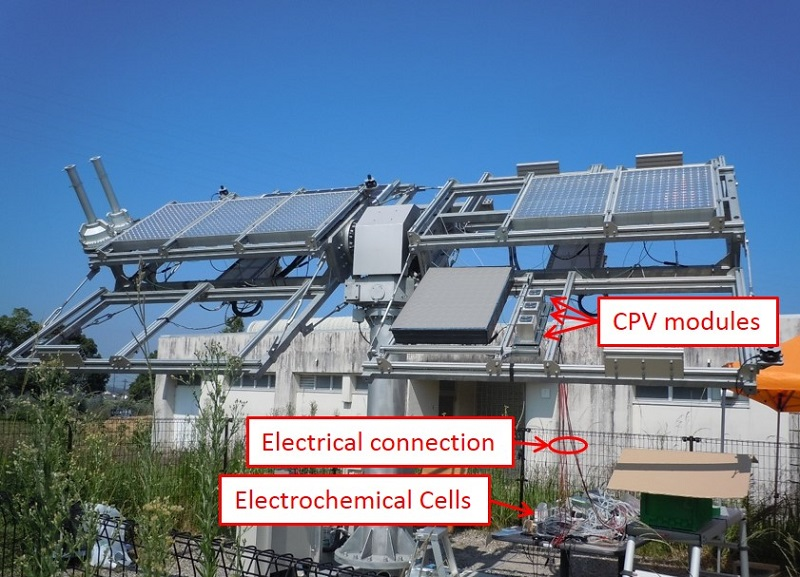 © 2015 Masakazu Sugiyama, Katsushi Fujii and Kensuke Nishioka.High-efficiency hydrogen production under natural sunlight was demonstrated by connecting concentrator photovoltaic (CPV) modules, capable of high-efficiency solar electricity generation, with water electrolyzers with polymer membrane separators. The energy transfer efficiency from sunlight to hydrogen was maximized by optimizing the number of the CPV modules and the electrolyzers in series connection so that the system operation point was as close as possible to the maximum power point of the CPV modules.