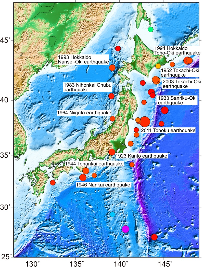 Figure 2:Major earthquakes of magnitude 7.4 or greater since 1923 <br>All the earthquakes of magnitude 7.4 or greater since the 1923 Great Kanto earthquake, including the 1964 Niigata earthquake, the 1983 Nihonkai-Chubu earthquake, the 1994 Hokkaido-Nansei-Oki earthquake, and the 2003 Tokachi-Oki earthquake, occurred under the sea floor.<br>© 2016 Earthquake Research Institute, The University of Tokyo.
