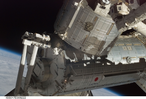 Fig. The Kibo Experiment Module attached to the International Space Station<br>?JAXA/NASA