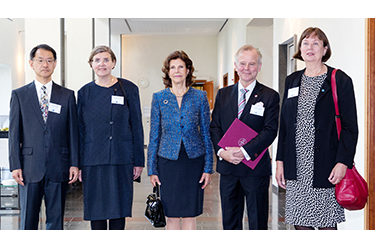 (from left to right) Executive Director and Vice President Prof. Mamoru Mitsuishi of The University of Tokyo, Vice-Chancellor Prof. Astrid Söderbergh Widding of Stockholm University, HM Queen Silvia of Sweden, Vice-Chancellor Prof. Ole Petter Ottersen of Karolinska Institutet, President Prof. Sigbritt Karlsson of KTH