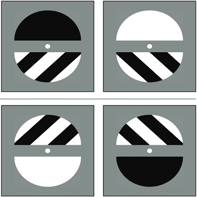 Four black and white circles.