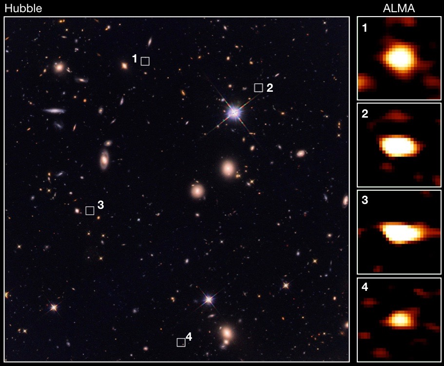 A rich star field on a black background (left) and four pull out images of bright orange orbs (right)