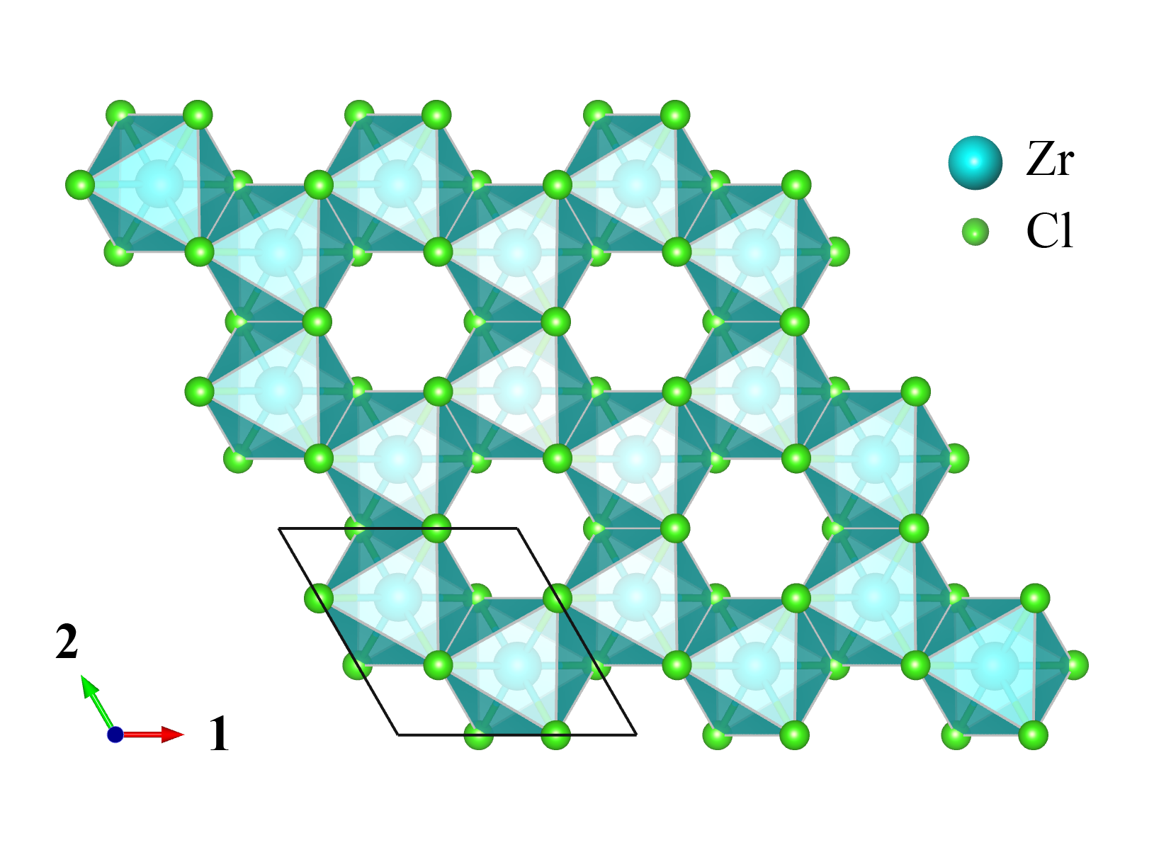 A lattice of blue and green hexagon shapes