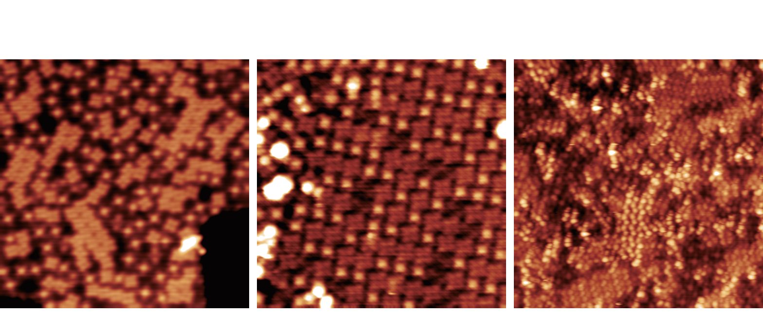 Three abstract microscopy images in an orange cast. Each shows an array of dots and squares.