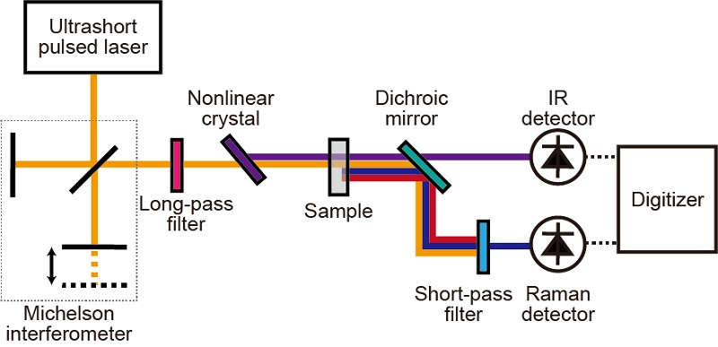 Simplified research schematic of the components of the complementary vibrational spectroscope.