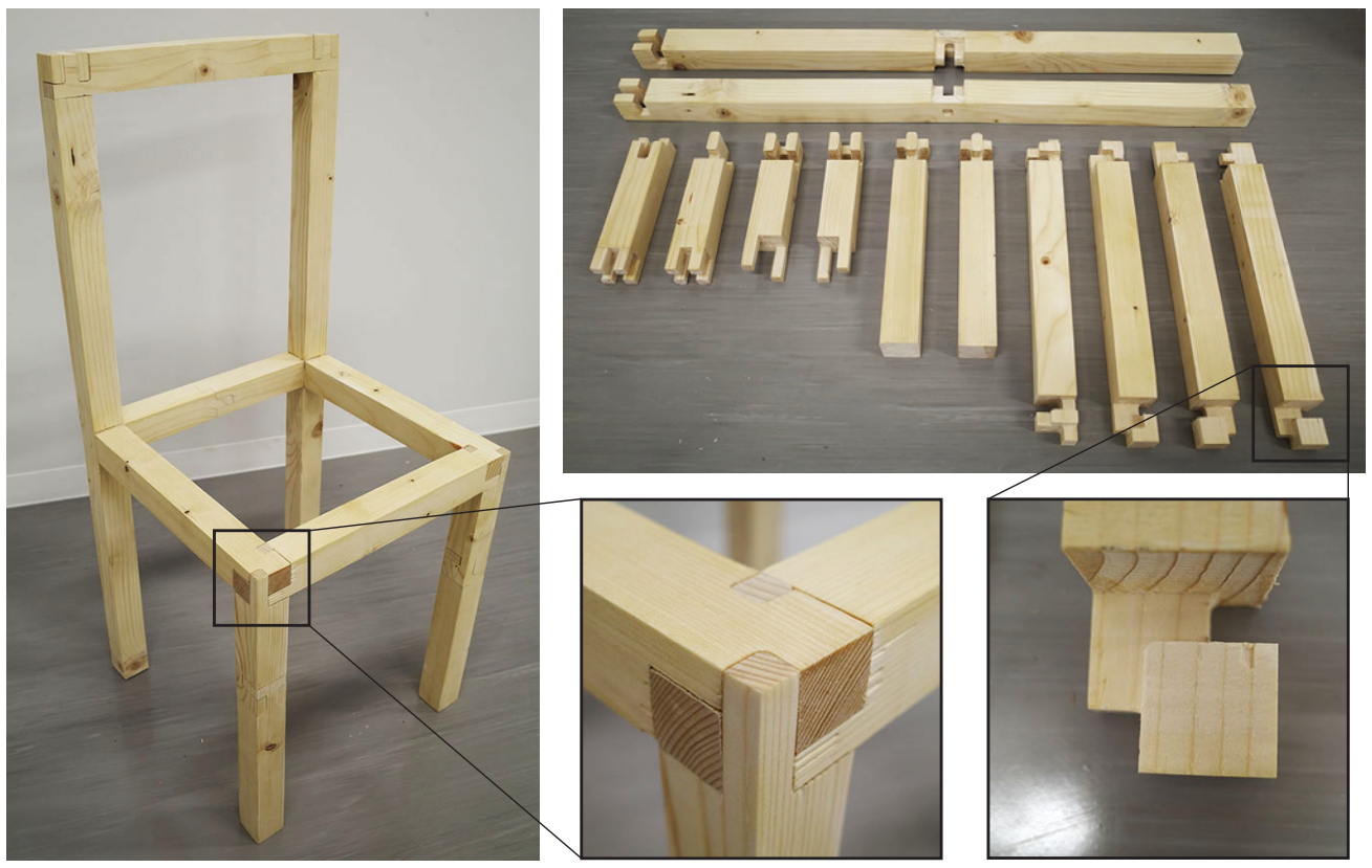 A wooden chair with sections enlarged