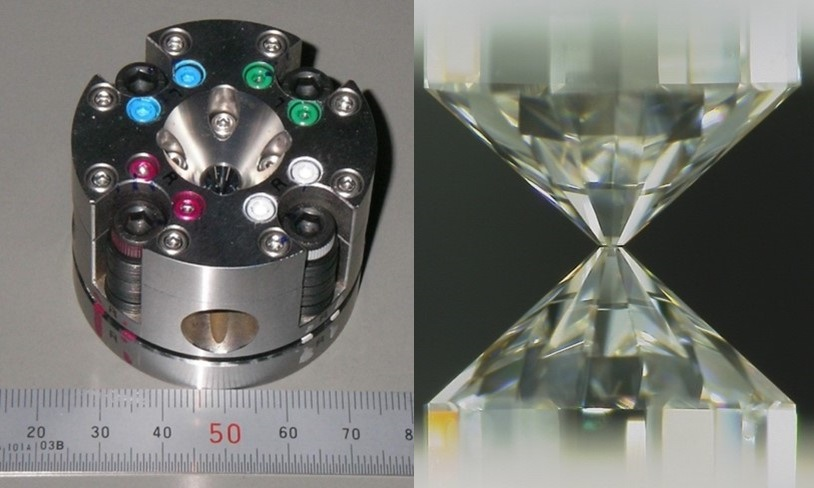 Left. A metal cylinder with colored dots on its top. Right. Two jewels meeting at a point.